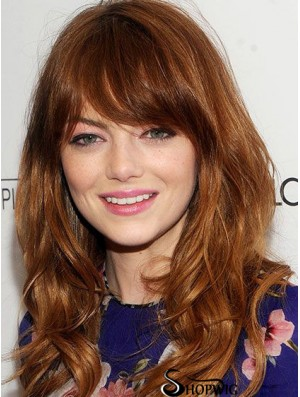 Human Hair Emma Stone Wig Full Wig Cropped Color Wavy Style With Bangs