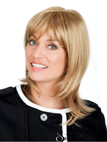 12 inch Blonde Shoulder Length With Bangs Wavy Exquisite Lace Wigs