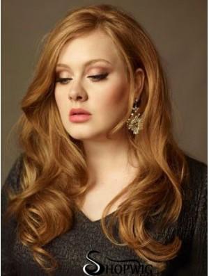 Without Bangs Long Copper Wavy 20 inch Sleek Human Hair Adele Adkins Wigs