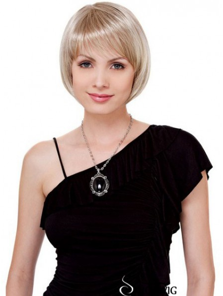 Bobs Chin Length Blonde Straight Comfortable Petite Wigs