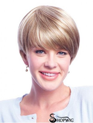 Wigs Human Hair Blondes With Minofilament Layered Cut Short Length