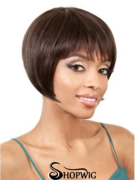 Capless Straight Bobs Chin Length 8 inch Gorgeous Human Hair Wigs