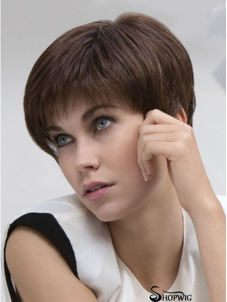 Brown Straight Cropped Boycuts Lace Front Cheap Wigs UK Sale