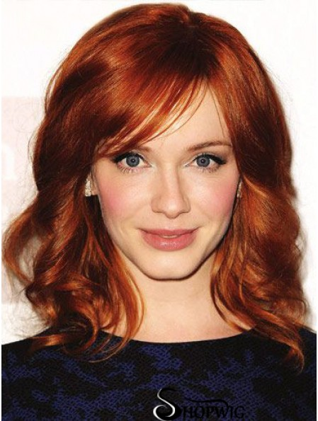 Full Lace Wavy With Bangs Shoulder Length 16 inch Affordable Human Hair Christina Hendricks Wigs