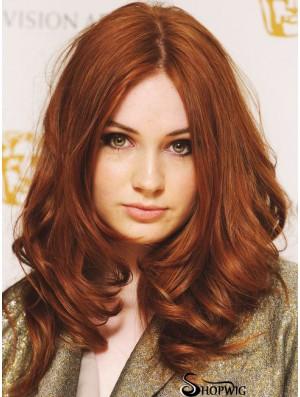 Without Bangs Long Copper Wavy 18 inch Suitable Human Hair Karen Gillan Wigs