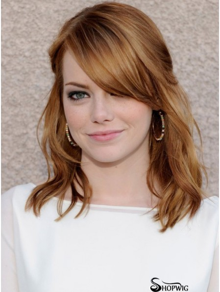 100% Hand-tied Wavy With Bangs Shoulder Length 16 inch High Quality Human Hair Emma Stone Wigs