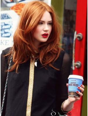 Without Bangs Long Copper Wavy 16 inch Best Human Hair Karen Gillan Wigs