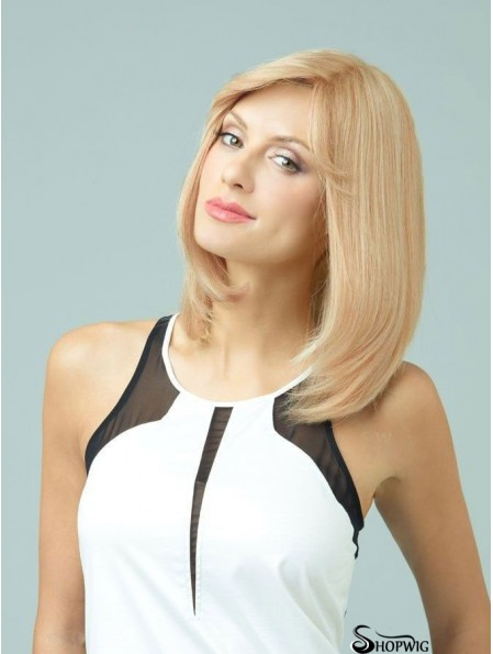 Straight With Bangs Monofilament Blonde Comfortable Long Wigs