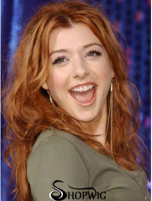 Without Bangs Long Copper Wavy 20 inch New Human Hair Alyson Hannigan Wigs