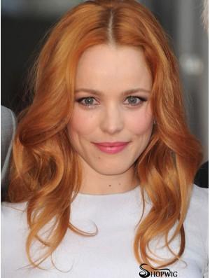 Without Bangs Long Copper Wavy 16 inch Good Human Hair Rachel Mcadams Wigs