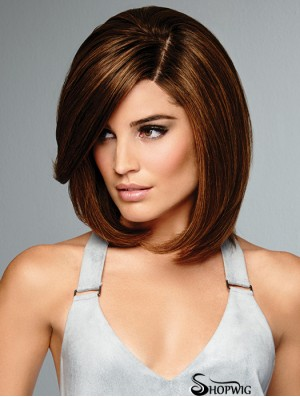 Brown 100% Hand-tied Remy Human Hair 12 inch Bob Style Wigs
