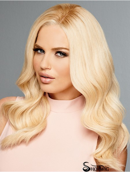 Without Bangs Blonde Wavy 16 inch Human Hair Wigs Cheap