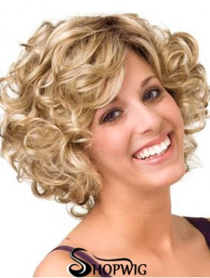 Curly Blonde Layered 10 inch Buy Human Hair Wigs