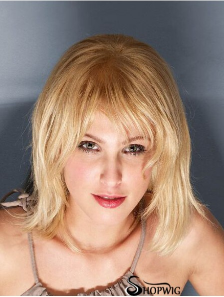 100% Hand-tied Straight With Bangs 12 inch Blonde Shoulder Length Cheap Human Hair Wigs