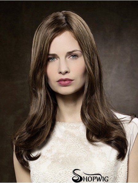 100% Hand-tied Straight Without Bangs 16 inch Brown Long Buy Human Hair Wigs