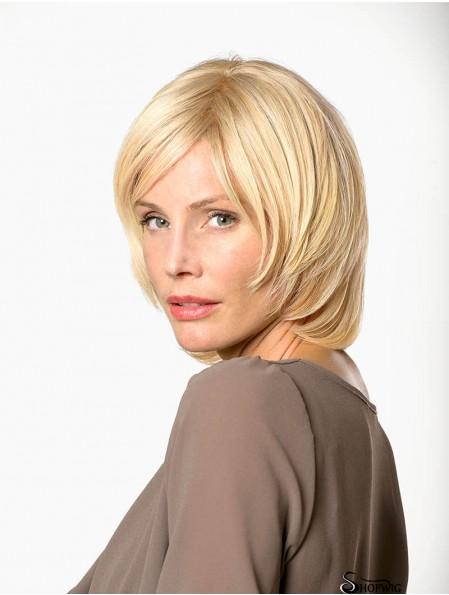 "11"" Straight Blonde Remy Human Hair Chin Length 100% Hand-tied Bob Cut Wigs Women"