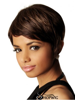 African American Human Hair Wigs Straight Style Short Length Bobs Cut