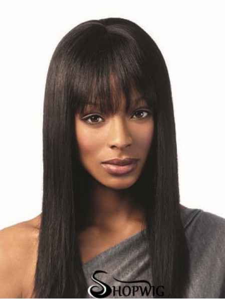 African American Hairstyles With Bangs Remy Human Black Color