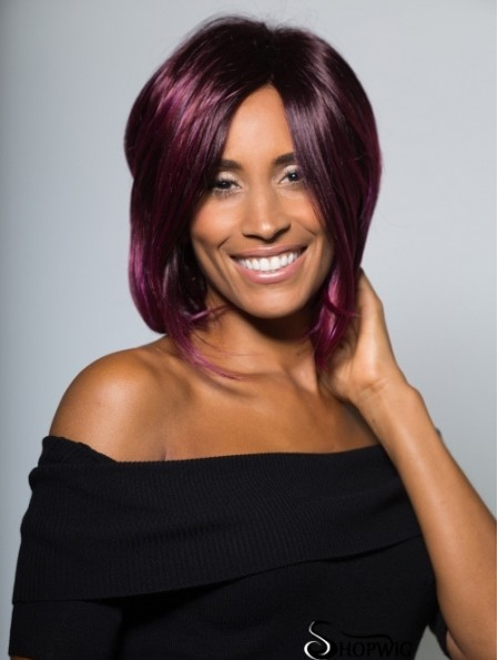 Flexibility Chin Length Straight Purple Bobs African American Wigs