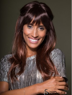 High Quality Long Straight Auburn With Bangs African American Wigs