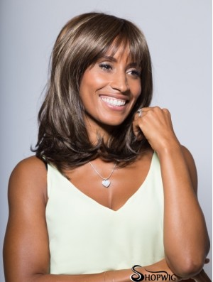 Modern Shoulder Length Wavy Brown With Bangs African American Wigs