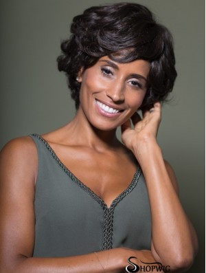 Online Chin Length Wavy Black Classic African American Wigs