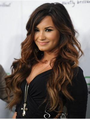 Demi Lavato Wig With Capless Remy Human Layered Cut Wavy Style