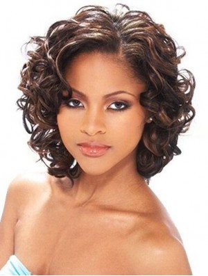 Human Hair Wigs For African American Women Curly Style Chin Length