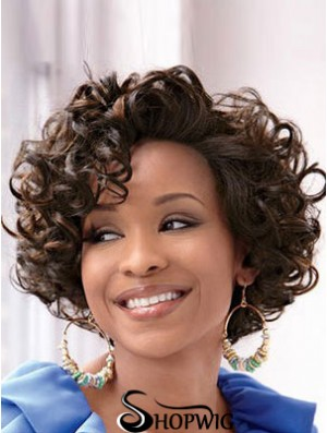 Short Curly African Wig With Full Lace Brown Color Wavy Style
