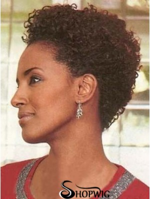 Indian Remy Capless Auburn Layered Short Curly African Wigs