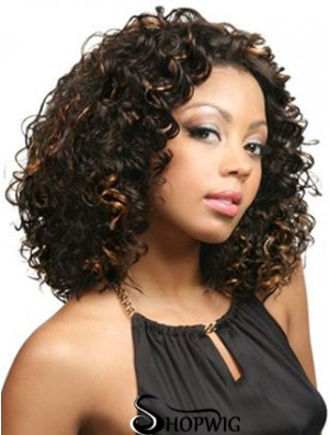 African American Curly Wigs With Synthetic Lace Front Curly Style