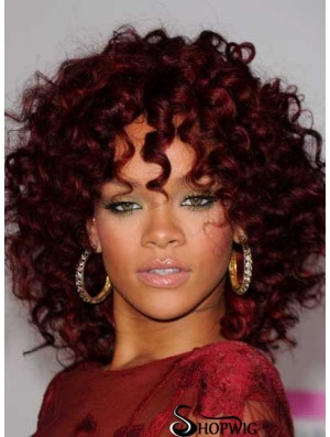 Rihanna Red Wig Red Color Shoulder Length Kinky Style Layered Cut
