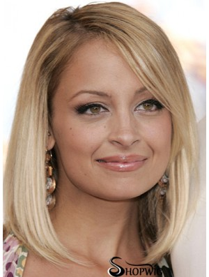 "Gorgeous Blonde Shoulder Length Straight 12"" Bobs Nicole Richie Lace Wigs"