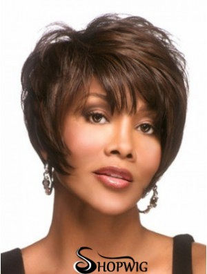 Straight Layered Brown Capless Short African American Wigs UK