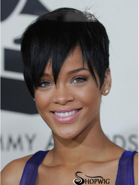 Rihanna Wig For Sale With Lace Front Cropped Length Black Color