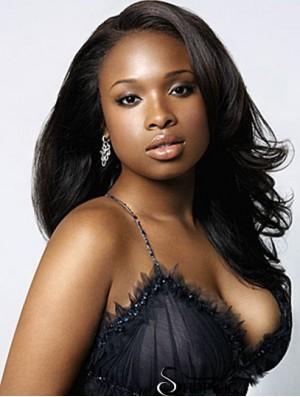 Wavy Lace Front Without Bangs Long Black Comfortable Jennifer Hudson Wigs