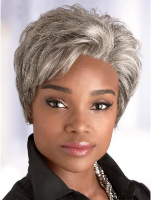 Synthetic Short Straight Capless Elderly Lady Wigs