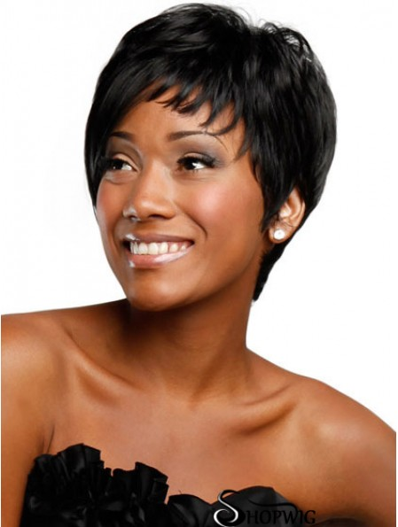 Black Boycuts Capless Straight Short Wigs For African Women UK