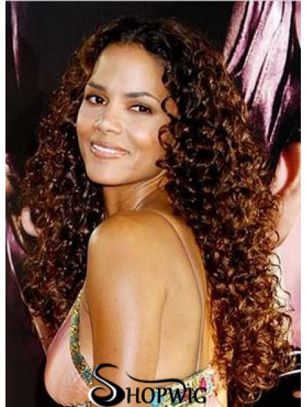 "Hairstyles Auburn Long Kinky 22"" Without Bangs Halle Berry Lace Wigs"