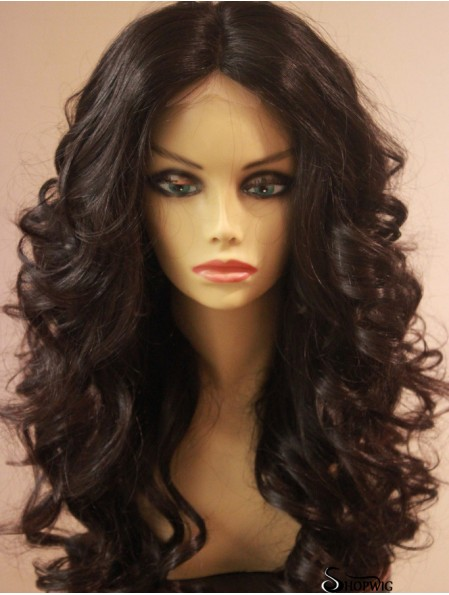 Long Brown Wavy Without Bangs Designed African American Wigs