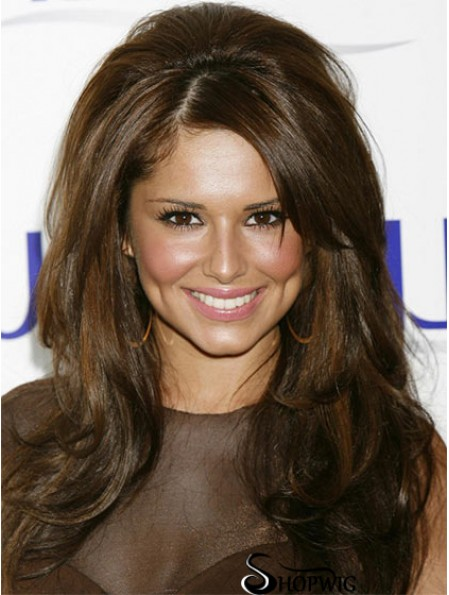 Cheryl Cole Pop Star Wig Long Length Brown Color With Bangs