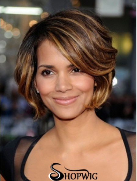 Great Brown Chin Length Wavy 8 inch Layered Halle Berry Lace Wigs
