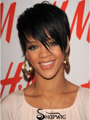 Rihanna Short Hair Wigs Boycuts Croppped Length Black Color