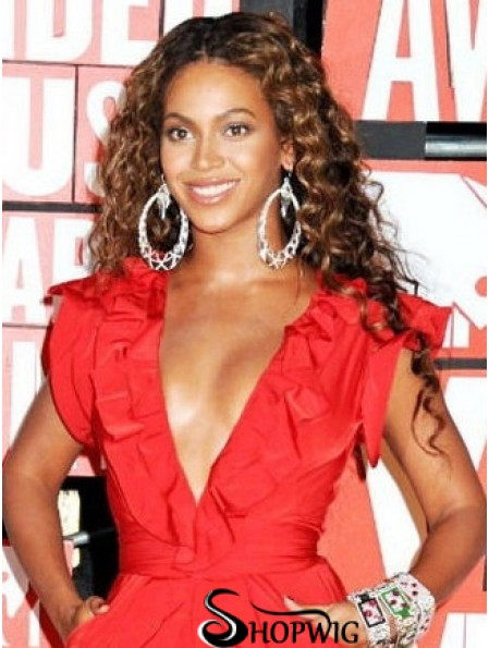"Long Curly Without Bangs Capless 20"" High Quality Beyonce Wigs"