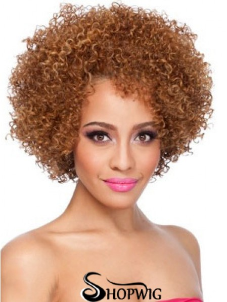 African American Afro Wigs Chin Length Kinky Style Layered Cut