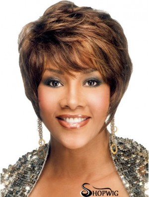 African American Hair With Layered Cut Shorted Length Brown Color