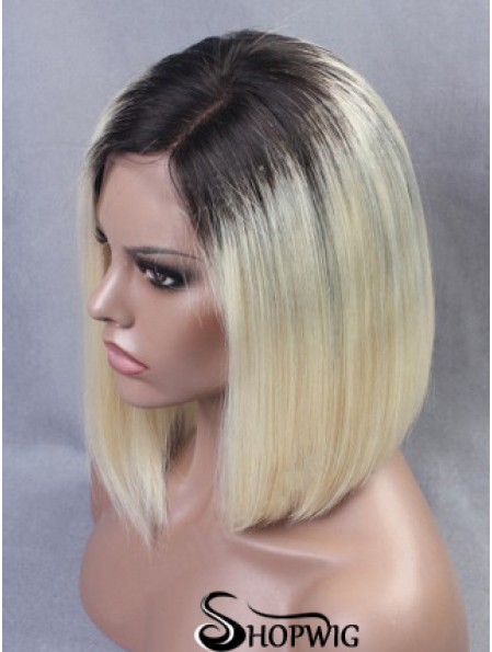 """Chin Length Straight Without Bangs Full Lace 12"""" New Black Women Wigs"""