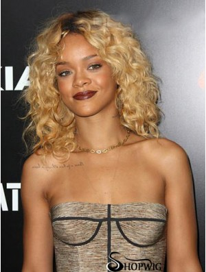 Rihanna Blonde Wig Indian Remy Curly Style Layered Cut