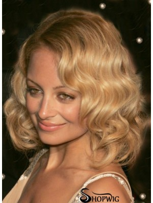 Nicole Richie Wig Wavy Style Shoulder Style Blonde Color
