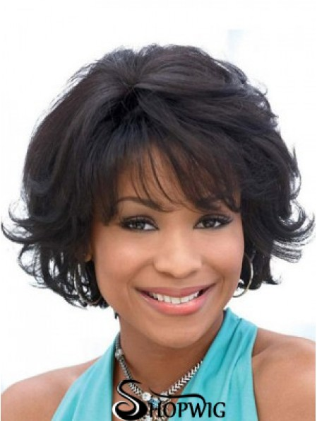 Synthetic Bobs Capless Black Wavy African American Wigs